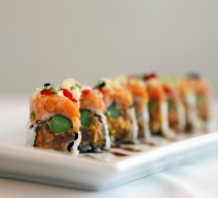 Featured Roll: RICO ROLL <br />topped with spicy tuna and caviar