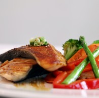 Salmon teriyaki  <br />Grilled salmon and vegetables in a teriyaki sauce