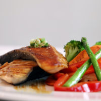 Salmon teriyaki  <br>Grilled salmon and vegetables in a teriyaki sauce