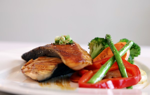 Salmon teriyaki  <br />Grilled salmon and vegetables in a teriyaki sauce